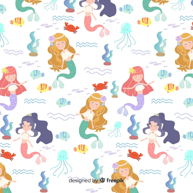 Hand drawn colorful mermaid pattern Free Vector