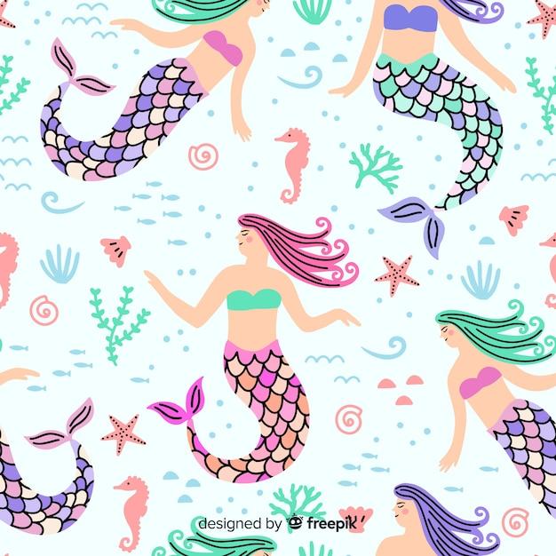 Disegnata a mano modello colorato sirena Vettore gratuito