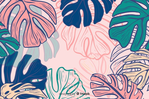 Hand drawn colorful monstera background Free Vector