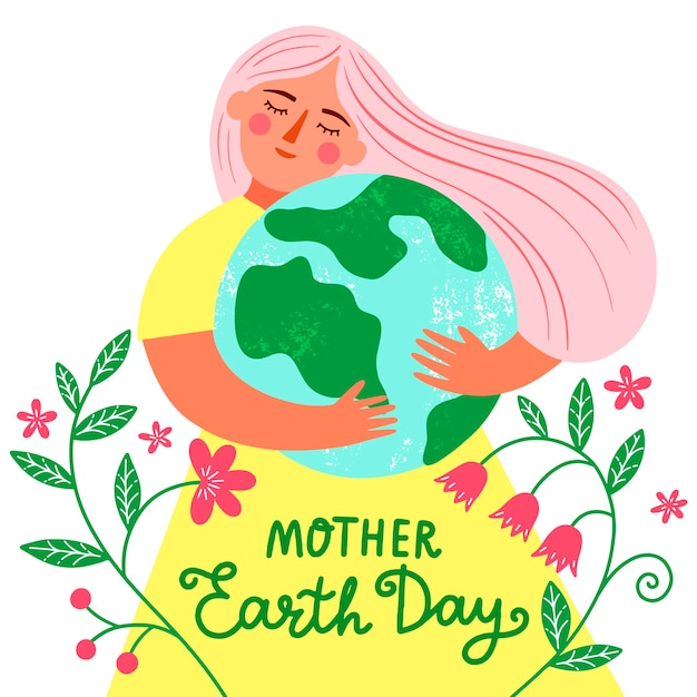 Hand drawn colorful mother earth day illustration Free Vector