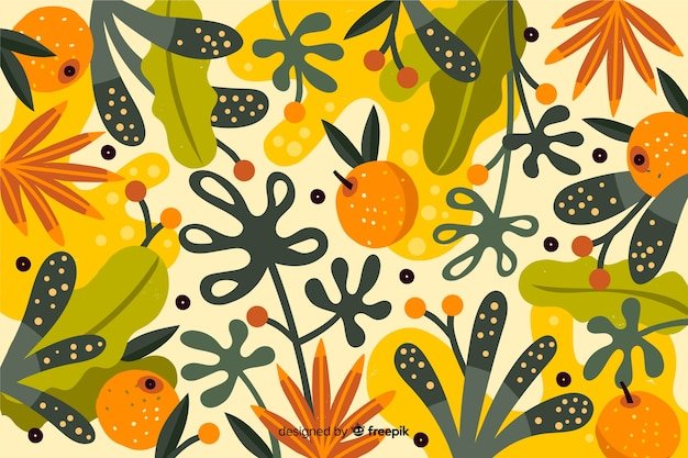 Hand Drawn Colorful Nature Wallpaper Vector Free Download