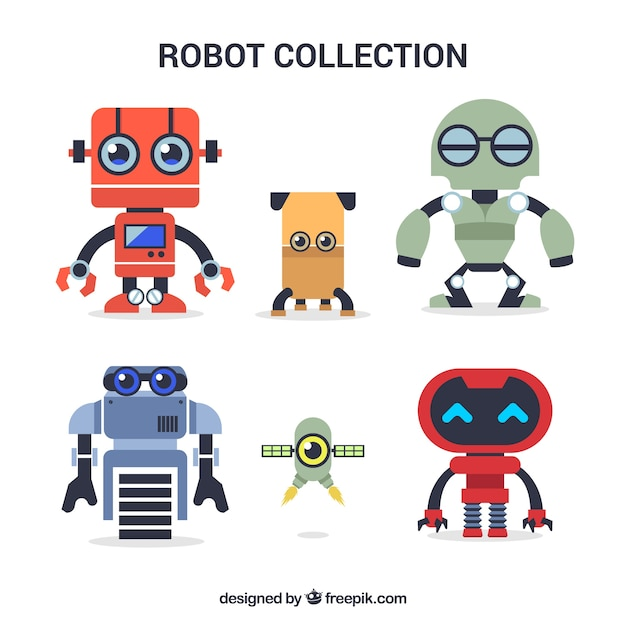 Hand drawn colorful robots collection Free Vector