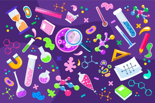 Hand drawn colorful science education background Free Vector