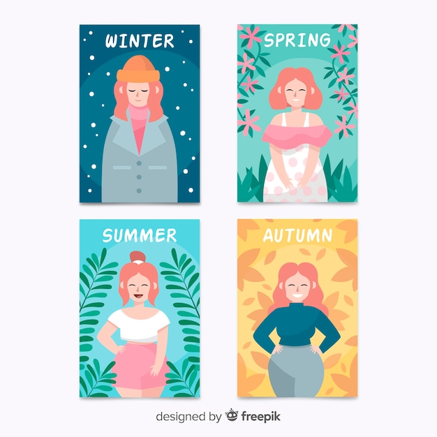 Hand drawn colorful seasonal poster collection Free Vector