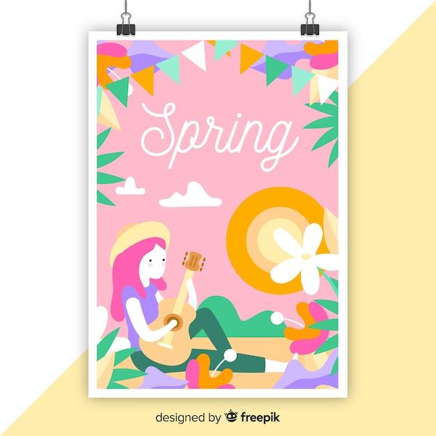 Hand drawn colorful seasonal poster Free Vector