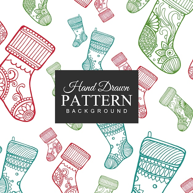 Hand drawn Colorful Socks Pattern Free Vector