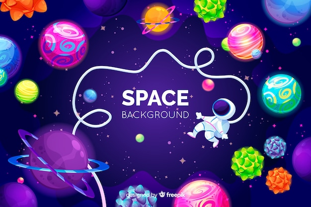 Hand drawn colorful space background Free Vector
