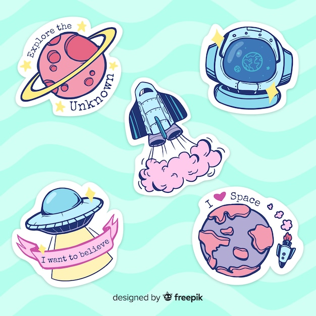 Hand drawn colorful space sticker collection Free Vector