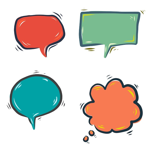 Hand drawn colorful speech bubbles Free Vector