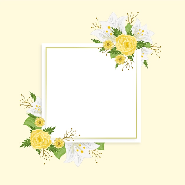 Hand drawn colorful spring floral frame Free Vector
