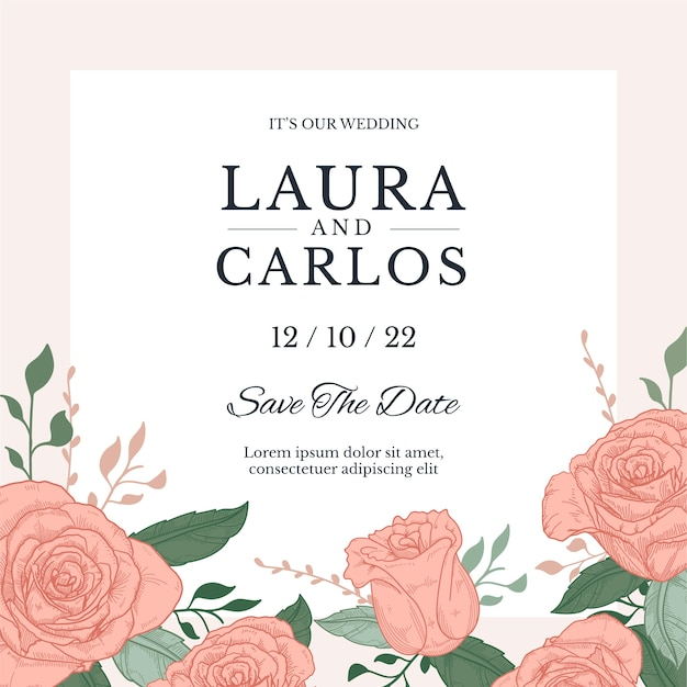 Hand drawn colorful template wedding invitation Free Vector