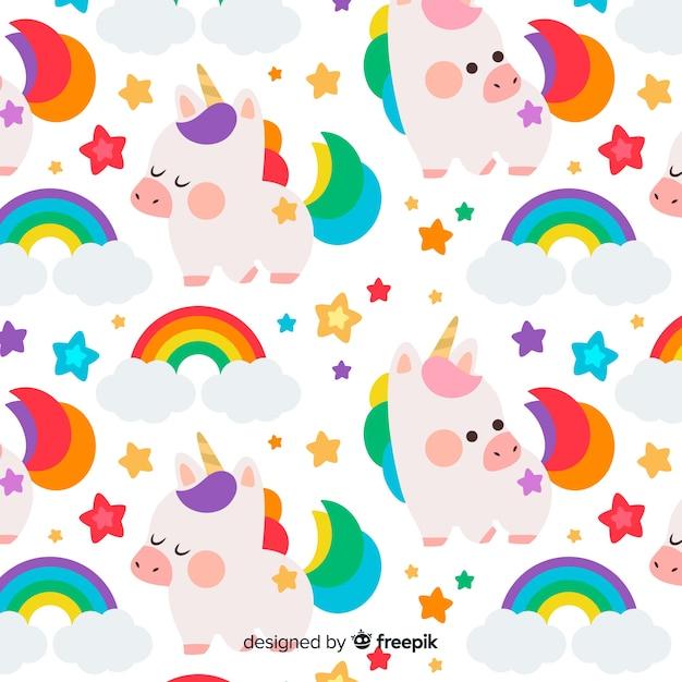 Hand drawn colorful unicorn pattern Free Vector