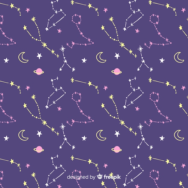 Hand drawn colorful zodiac pattern Free Vector
