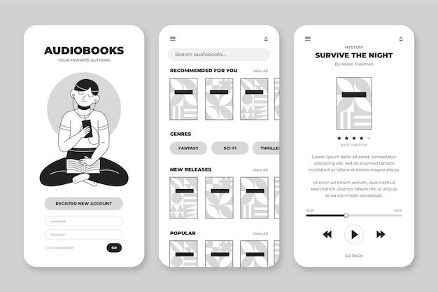 Raccolta di app incolori disegnate a mano per smartphone Vettore gratuito