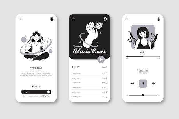 App incolori disegnate a mano in design piatto Vettore gratuito