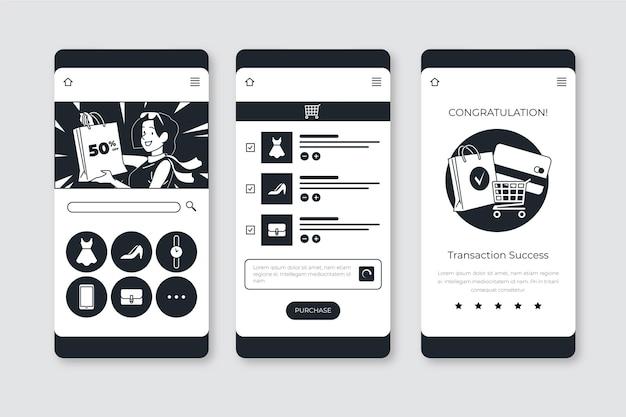 평면 디자인의 손으로 그린 무색 앱 무료 벡터