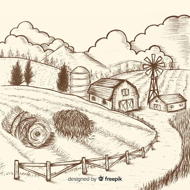 Hand drawn colorless farm landscape Free Vector