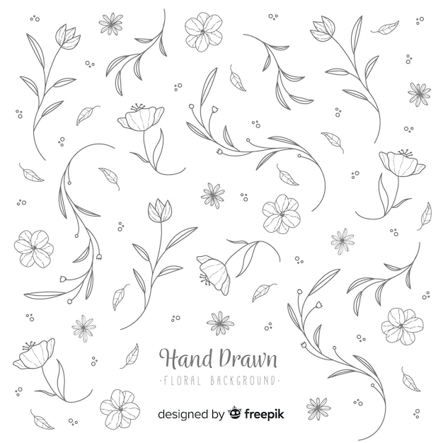 Hand drawn colorless floral background Free Vector