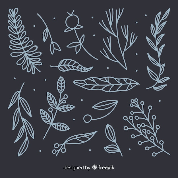 Hand drawn colorless floral decoration elements Free Vector