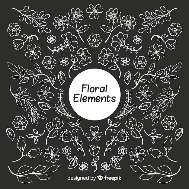 Hand drawn colorless floral decorative elements Free Vector