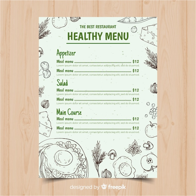 Hand drawn colorless healthy menu template Free Vector
