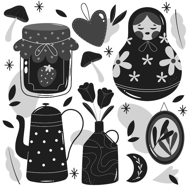 Illustrazioni incolori disegnate a mano Vettore gratuito