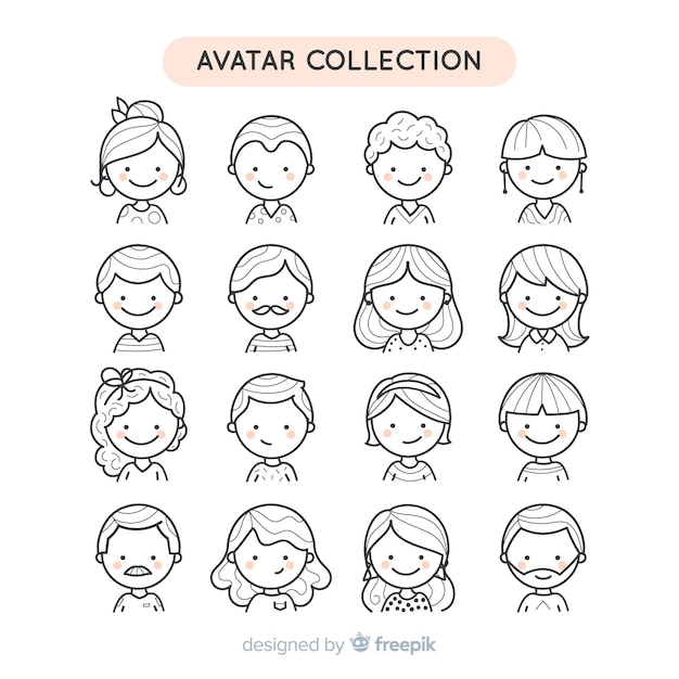 Hand drawn colorless people avatar collection Free Vector