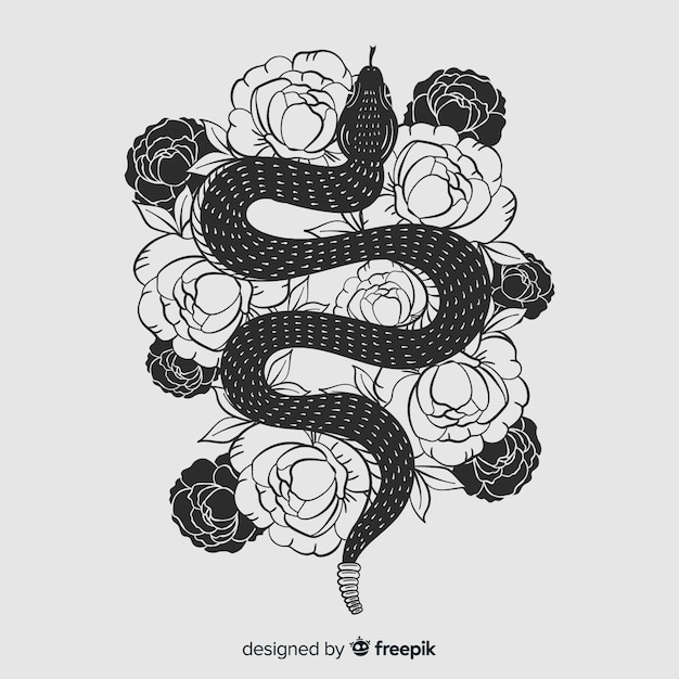 Hand drawn colorless snake with flowers background Free Vector