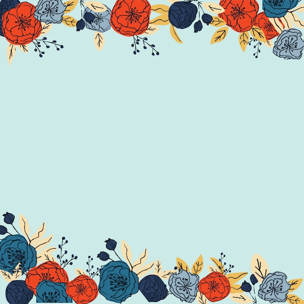 Hand drawn colourful floral frame pattern vector Premium Vector
