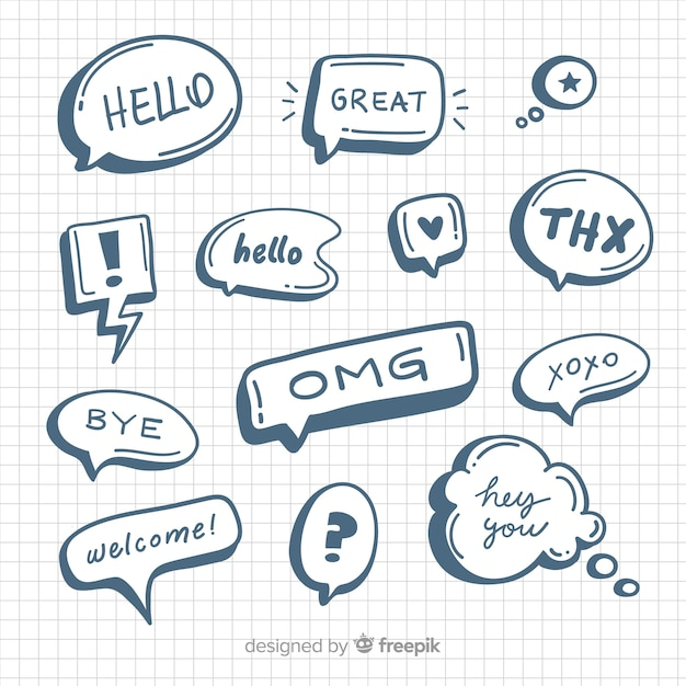 Hand drawn comic speech bubbles collection Free Vector