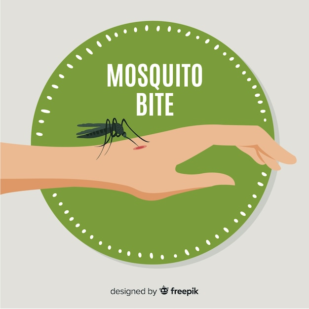 Hand drawn composition of mosquito biting a Free Vector