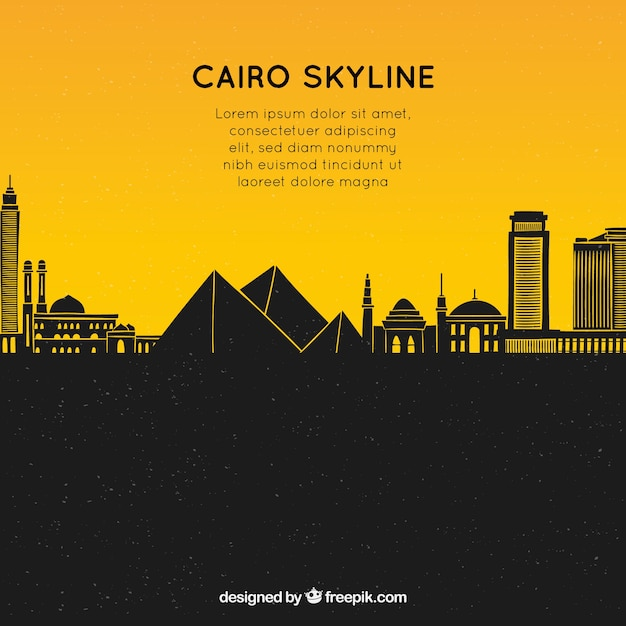 Hand drawn composition with cairo's skyline Free Vector