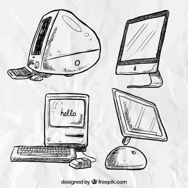 Hand drawn computers Free Vector