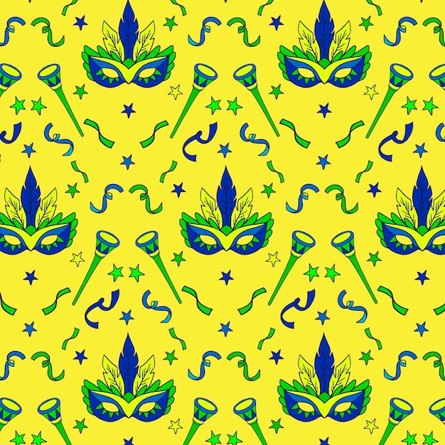 Hand-drawn concept for brazilian carnival pattern Free Vector