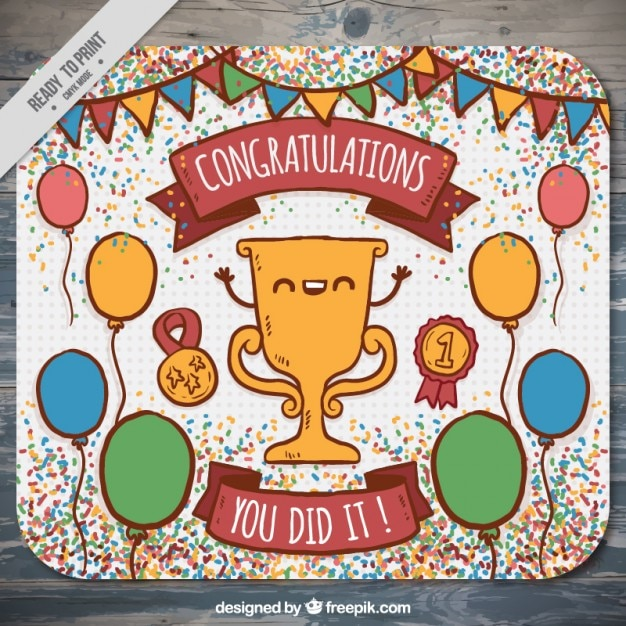 Hand Drawn Congratulation Card With A Nice Trophy Free Vector  Free Congratulation Cards