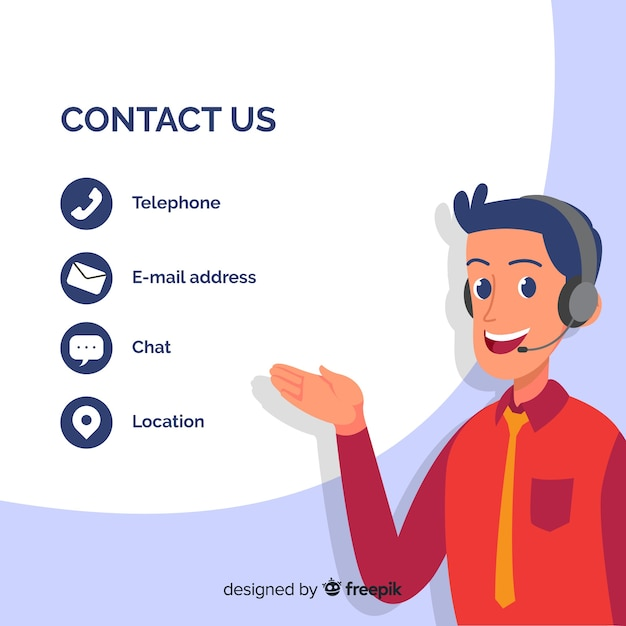 Hand drawn contact information background template Free Vector