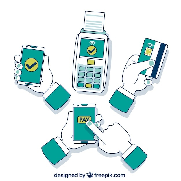 Hand drawn contactless payment concept Premium Vector