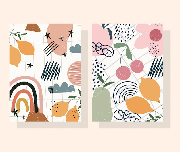 Hand drawn contemporary, flower fruits decoration trendy print collage color banners Premium Vector