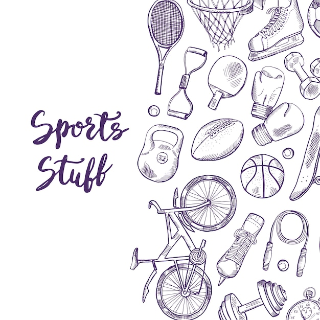 Hand drawn contoured sports equipment background illustration with place for text Premium Vector