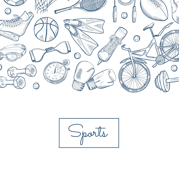 Hand drawn contoured sports equipment Premium Vector