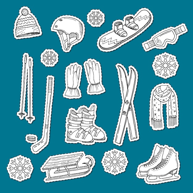 Hand drawn contoured winter sports equipment and attributes stickers. Premium Vector