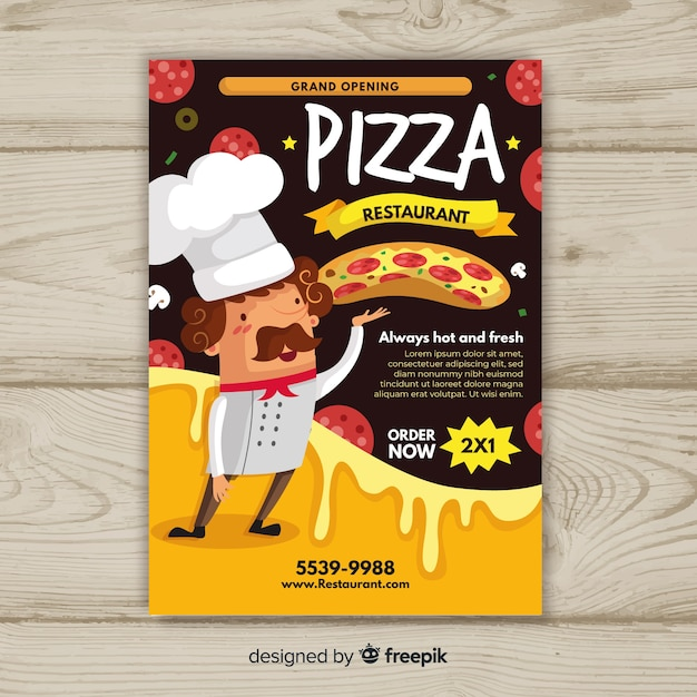 Hand drawn cook pizza flyer template Free Vector