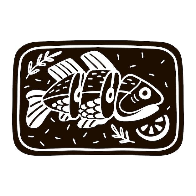 Ручной обращается приготовленная рыба с лимоном иллюстрации. морепродукты Premium векторы