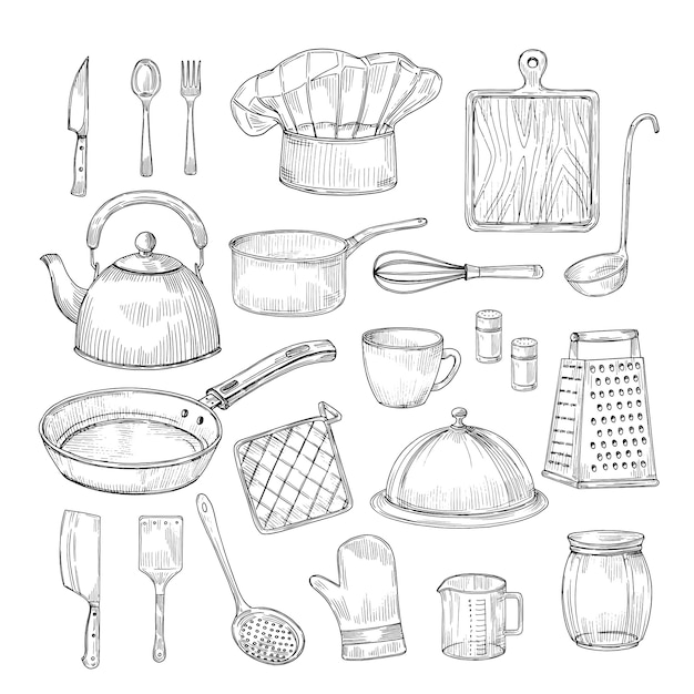 Hand drawn cooking tools. kitchen equipment kitchenware utensils vintage sketch vector collection Premium Vector