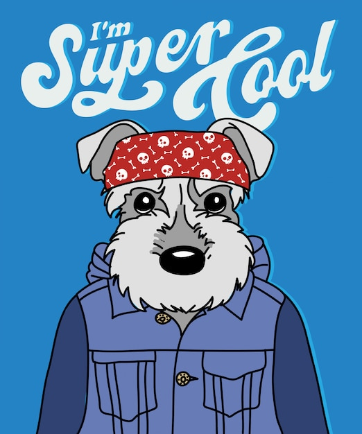 Hand drawn cool dog vector design for t shirt printing Premium Vector