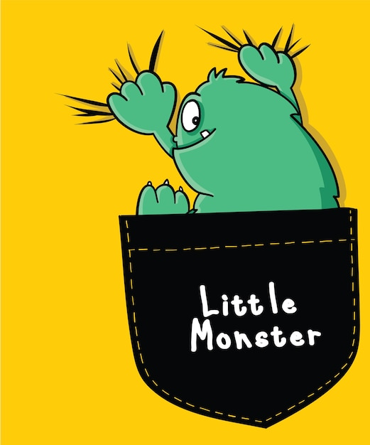 Hand drawn cool monster vector design for t shirt printing Premium Vector