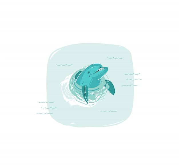 Hand drawn   coon summer time fun illustration with swimming dolphin in blue ocean waves  on white background Premium Vector