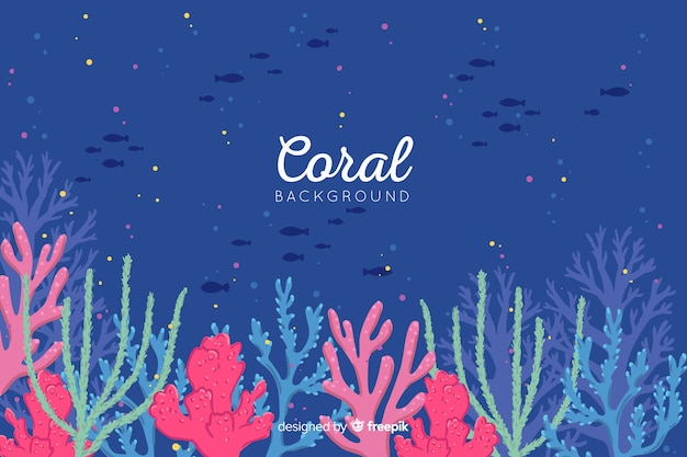 Hand drawn coral background Free Vector