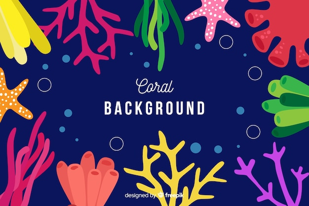 Hand drawn coral frame background Free Vector