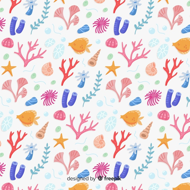 Hand drawn coral pattern Free Vector